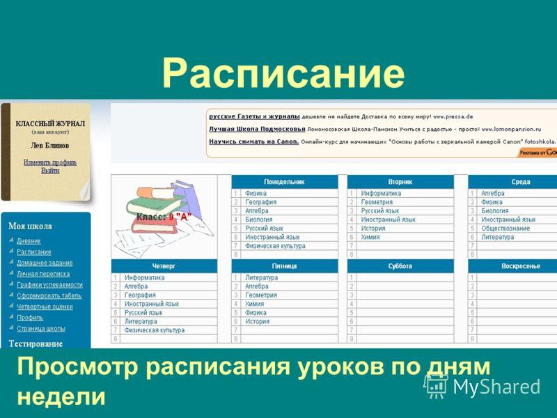 Расписание Просмотр расписания уроков по дням недели