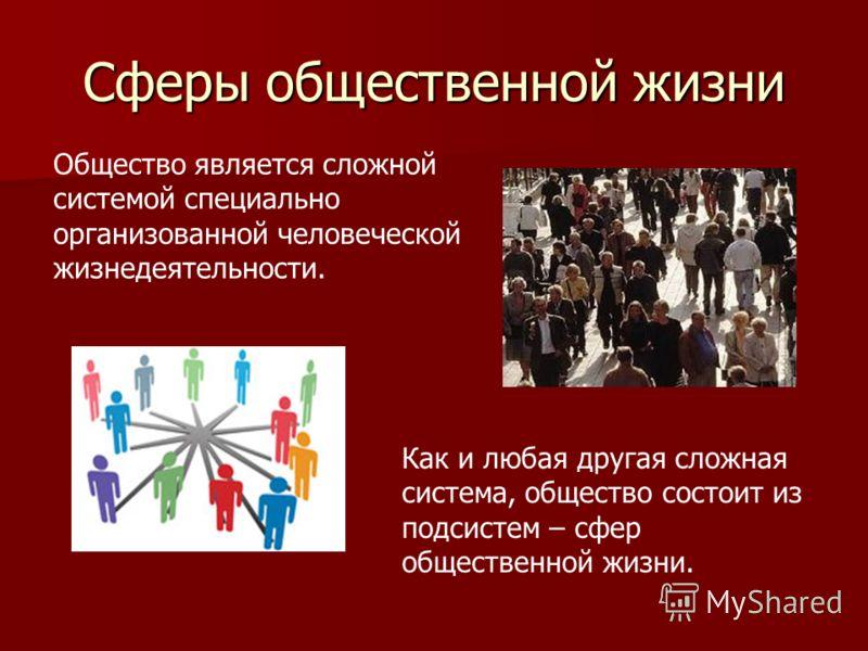 Сферы общественной жизни общество