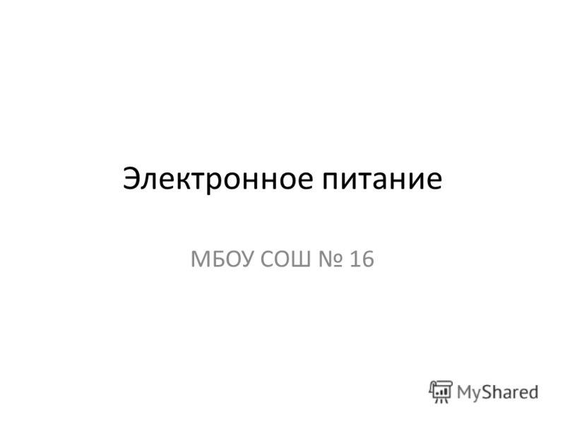 Электронное питание МБОУ СОШ 16