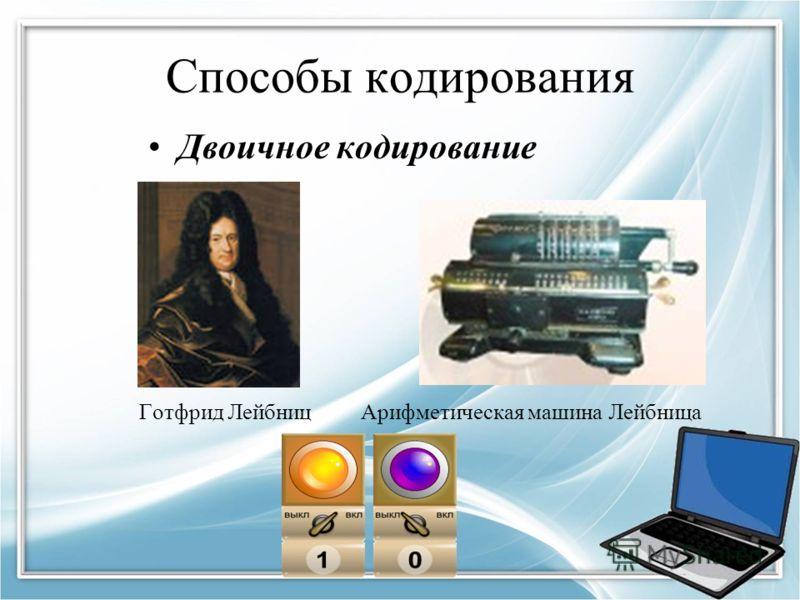 Способы кодирования Двоичное кодирование Готфрид Лейбниц Арифметическая машина Лейбница