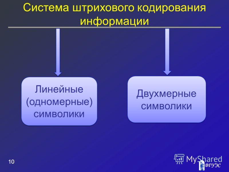 Система штрихового кодирования информации 10 Линейные (одномерные) символики Двухмерные символики