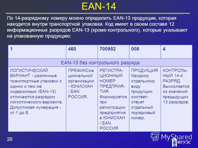 EAN-14 20 По 14-разрядному номеру можно определить EAN-13 продукции, которая находится внутри транспортной упаковки. Код имеет в своем составе 12 информационных разрядов EAN-13 (кроме контрольного), которые указывают на упакованную продукцию:. 146070