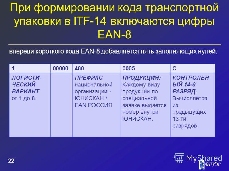 При формировании кода транспортной упаковки в ITF-14 включаются цифры EAN-8 22 впереди короткого кода EAN-8 добавляется пять заполняющих нулей: 1000004600005С ЛОГИСТИ- ЧЕСКИЙ ВАРИАНТ от 1 до 8. ПРЕФИКС национальной организации - ЮНИСКАН / EAN РОССИЯ