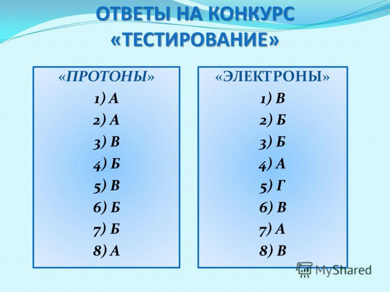 ОТВЕТЫ НА КОНКУРС «ТЕСТИРОВАНИЕ» «ПРОТОНЫ» 1) А 2) А 3) В 4) Б 5) В 6) Б 7) Б 8) А «ЭЛЕКТРОНЫ» 1) В 2) Б 3) Б 4) А 5) Г 6) В 7) А 8) В