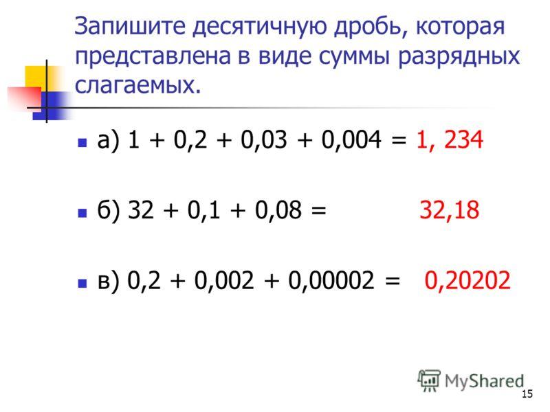 14 Впишите пропущенные множители у разрядных слагаемых а) 1,213 = 1+2 0,1 +10,01 + 30,001 б) 4,056 = 4 + 0 0,1 +5 0,01 + 6 0,001 в)0,7007=0+7 0,1+00,01+00,001 +70,0001