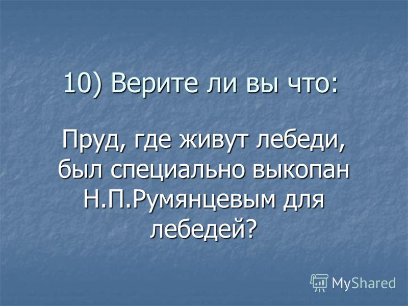 10) Верите ли вы что: Пруд, где живут лебеди, был специально выкопан Н.П.Румянцевым для лебедей?