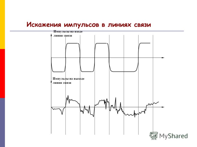 Импульсы на выходе линии связи Импульсы на входе линии связи Искажения импульсов в линиях связи