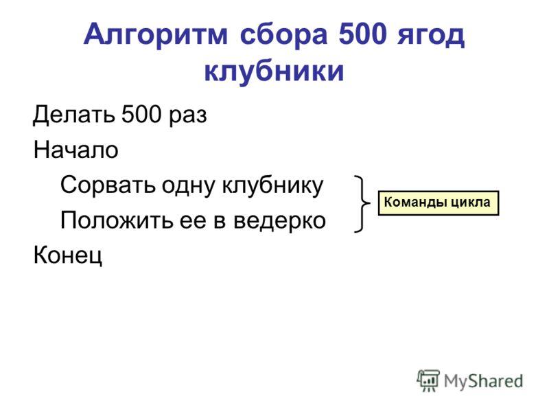 Алгоритм сбора 500 ягод клубники Делать 500 раз Начало Сорвать одну клубнику Положить ее в ведерко Конец Команды цикла