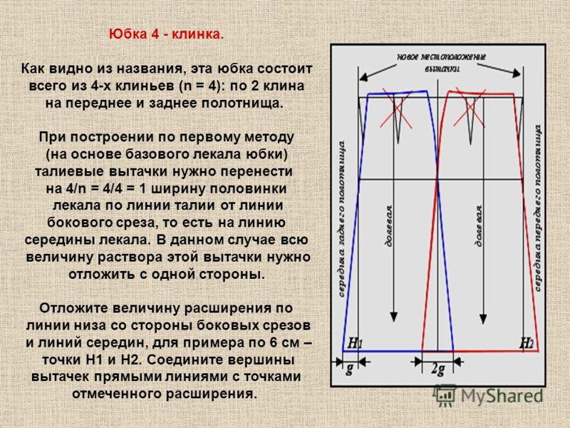 Юбка 4 - клинка. Как видно из названия, эта юбка состоит всего из 4-х клиньев (n = 4): по 2 клина на переднее и заднее полотнища. При построении по первому методу (на основе базового лекала юбки) талиевые вытачки нужно перенести на 4/n = 4/4 = 1 шири