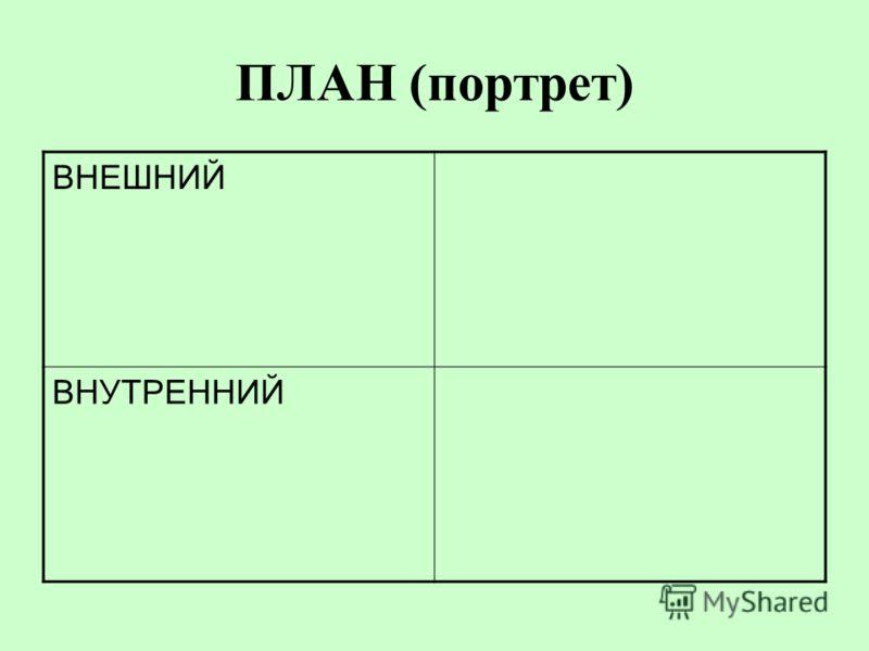 ПЛАН (портрет) ВНЕШНИЙ ВНУТРЕННИЙ