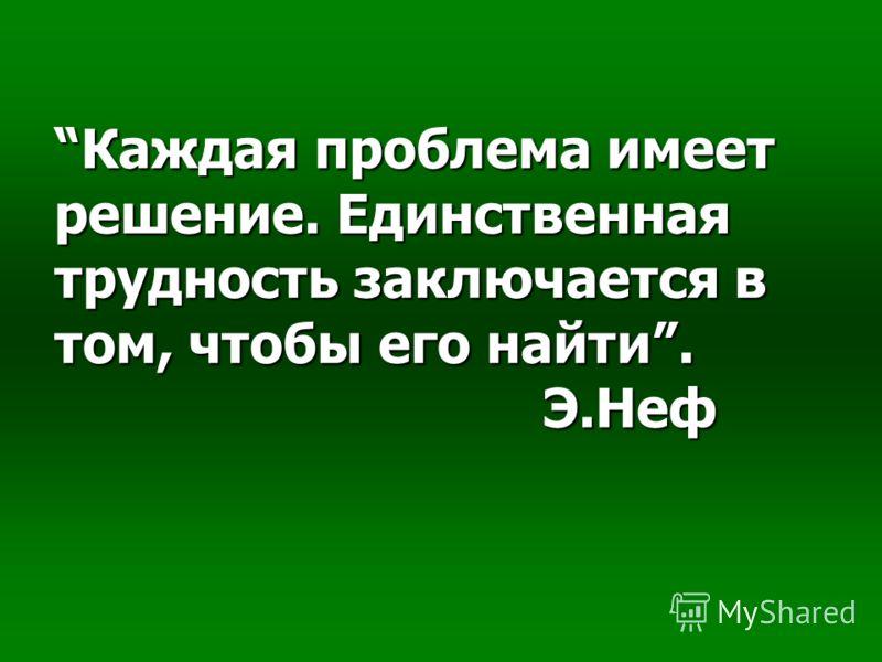 Каждая проблема имеет решение. Единственная трудность заключается в том, чтобы его найти. Э.Неф