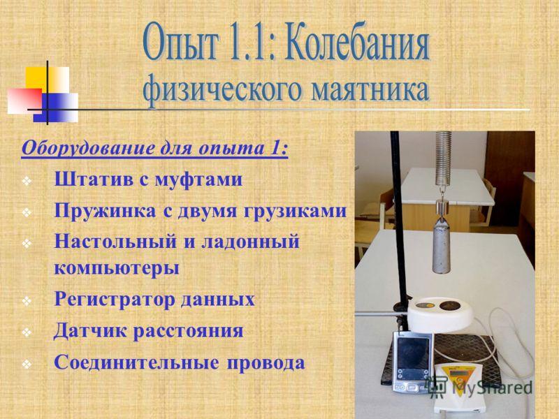 Оборудование для опыта 1: Штатив с муфтами Пружинка с двумя грузиками Настольный и ладонный компьютеры Регистратор данных Датчик расстояния Соединительные провода