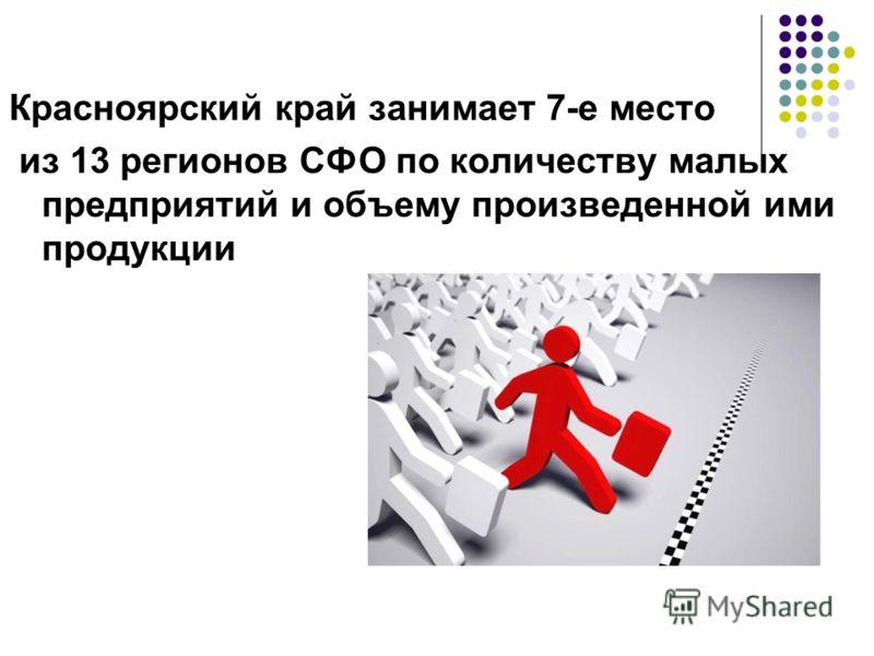 Красноярский край занимает 7-е место из 13 регионов СФО по количеству малых предприятий и объему произведенной ими продукции