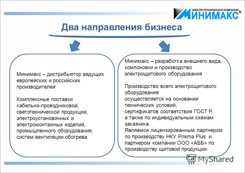 Два направления бизнеса Минимакс – дистрибьютор ведущих европейских и российских производителей Комплексные поставки кабельно-проводниковой, светотехнической продукции, электроустановочных и электромонтажных изделий, промышленного оборудования, систе