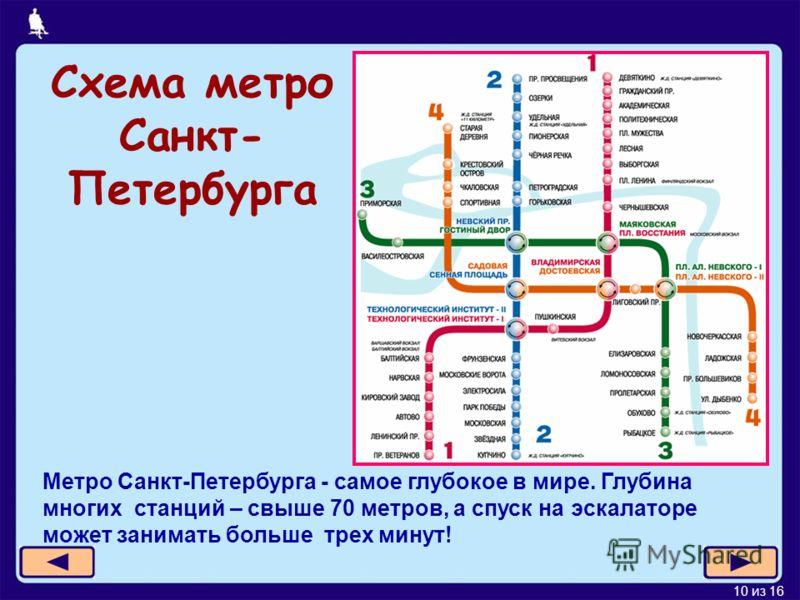 10 из 16 Схема метро Санкт- Петербурга Метро Санкт-Петербурга - самое глубокое в мире. Глубина многих станций – свыше 70 метров, а спуск на эскалаторе может занимать больше трех минут!