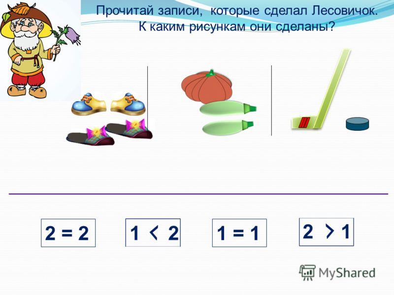 Прочитай записи, которые сделал Лесовичок. К каким рисункам они сделаны? 2 = 21 = 1