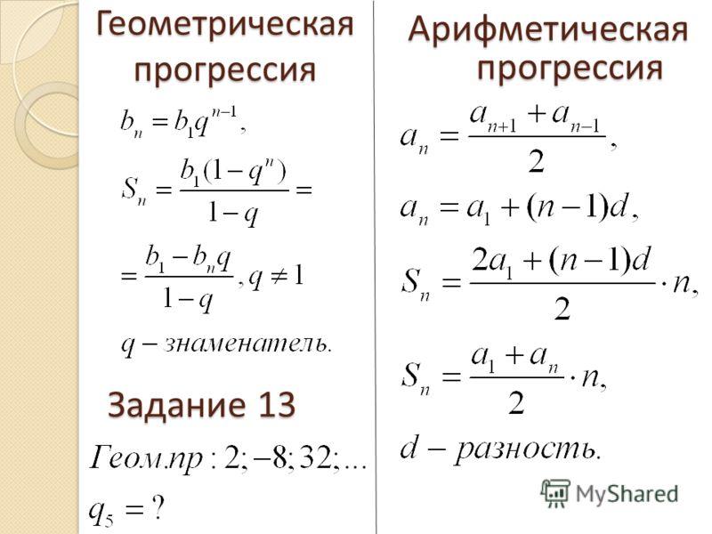 Геометрическая прогрессия Арифметическаяпрогрессия Задание 13