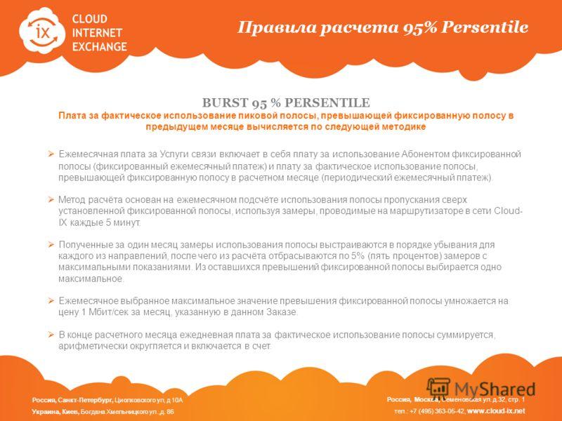 Правила расчета 95% Persentile BURST 95 % PERSENTILE Плата за фактическое использование пиковой полосы, превышающей фиксированную полосу в предыдущем месяце вычисляется по следующей методике Ежемесячная плата за Услуги связи включает в себя плату за