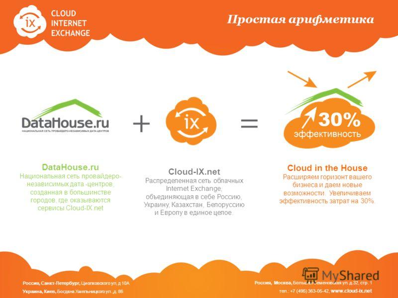Простая арифметика Cloud in the House Расширяем горизонт вашего бизнеса и даем новые возможности. Увеличиваем эффективность затрат на 30%. Cloud-IX.net Распределенная сеть облачных Internet Exchange, объединяющая в себе Россию, Украину, Казахстан, Бе