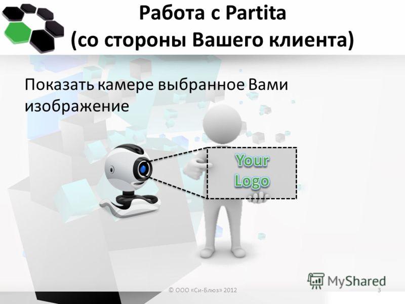 Работа с Partita (со стороны Вашего клиента) Показать камере выбранное Вами изображение © ООО «Си-Блюз» 20123