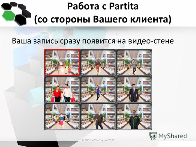 Работа с Partita (со стороны Вашего клиента) Ваша запись сразу появится на видео-стене © ООО «Си-Блюз» 20125