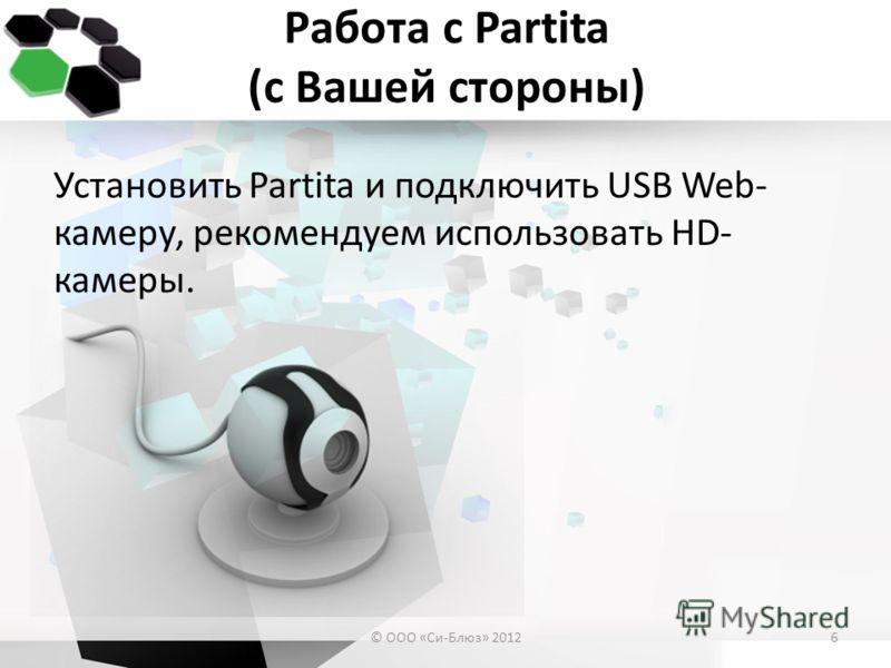 Работа с Partita (с Вашей стороны) Установить Partita и подключить USB Web- камеру, рекомендуем использовать HD- камеры. © ООО «Си-Блюз» 20126