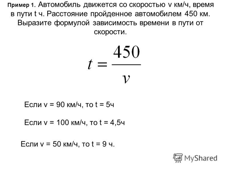 Пример 1. Автомобиль движется со скоростью v км/ч, время в пути t ч. Расстояние пройденное автомобилем 450 км. Выразите формулой зависимость времени в пути от скорости. Если v = 90 км/ч, то t = 5ч Если v = 100 км/ч, то t = 4,5ч Если v = 50 км/ч, то t