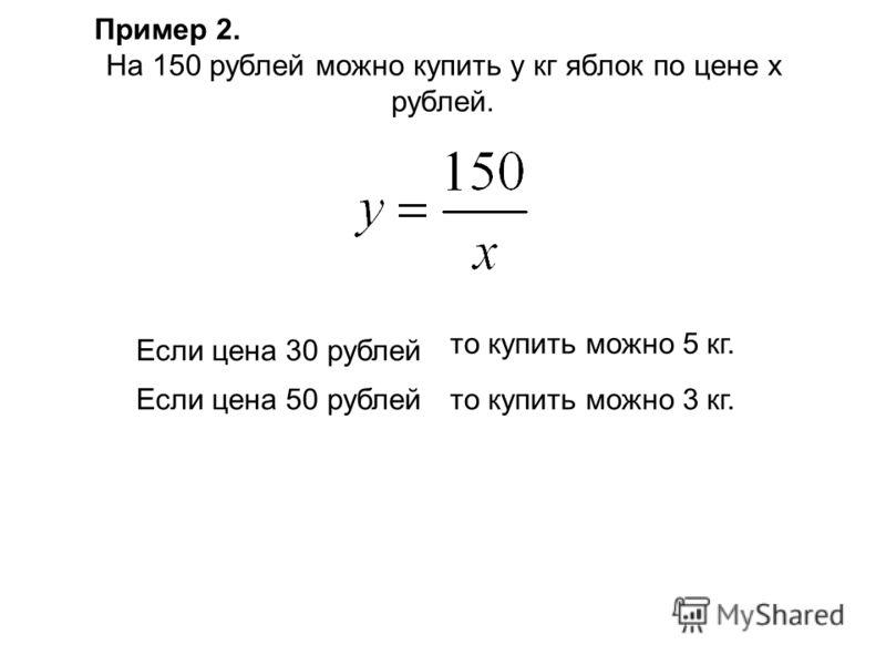 На 150 рублей можно купить y кг яблок по цене х рублей. Если цена 30 рублей Если цена 50 рублейто купить можно 3 кг. то купить можно 5 кг. Пример 2.
