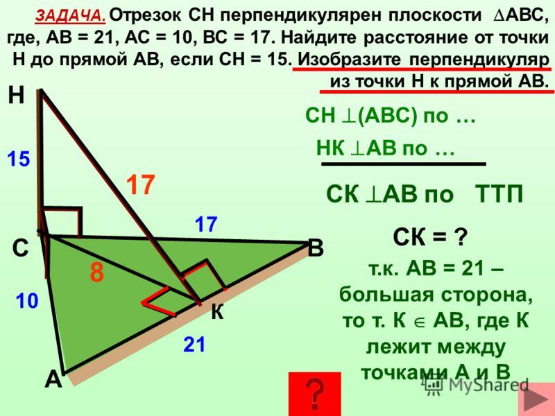 ЗАДАЧА. Отрезок СН перпендикулярен плоскости АВС, где, АВ = 21, АС = 10, ВС = 17. Найдите расстояние от точки Н до прямой АВ, если СН = 15. Изобразите перпендикуляр из точки Н к прямой АВ. А ВС Н 10 17 21 15 НК АВ по … СН (АВС) по … СК АВ по ТТП К СК