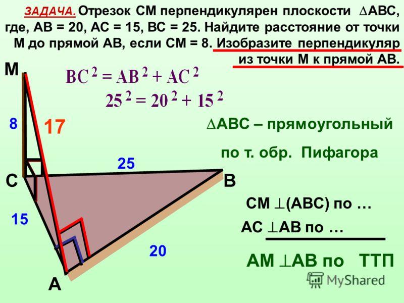 ЗАДАЧА. Отрезок СМ перпендикулярен плоскости АВС, где, АВ = 20, АС = 15, ВС = 25. Найдите расстояние от точки М до прямой АВ, если СМ = 8. Изобразите перпендикуляр из точки М к прямой АВ. А ВС М 25 15 20 8 АС АВ по … СМ (АВС) по … АМ АВ по ТТП 17 АВС