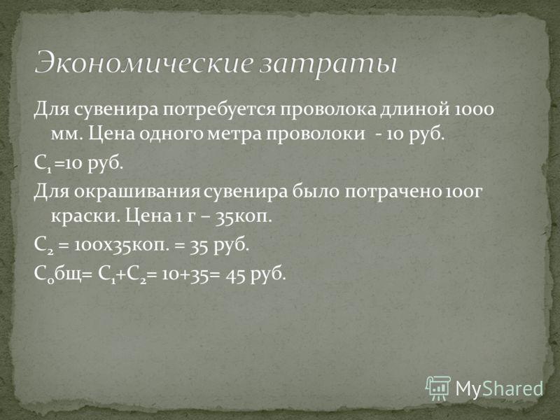 Для сувенира потребуется проволока длиной 1000 мм. Цена одного метра проволоки - 10 руб. C 1 =10 руб. Для окрашивания сувенира было потрачено 100г краски. Цена 1 г – 35коп. С 2 = 100x35коп. = 35 руб. С 0 бщ= C 1 +C 2 = 10+35= 45 руб.