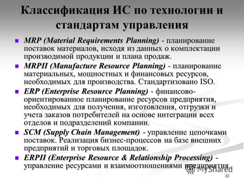 30 Классификация ИС по технологии и стандартам управления MRP (Material Requirements Planning) - планирование поставок материалов, исходя из данных о комплектации производимой продукции и плана продаж. MRP (Material Requirements Planning) - планирова