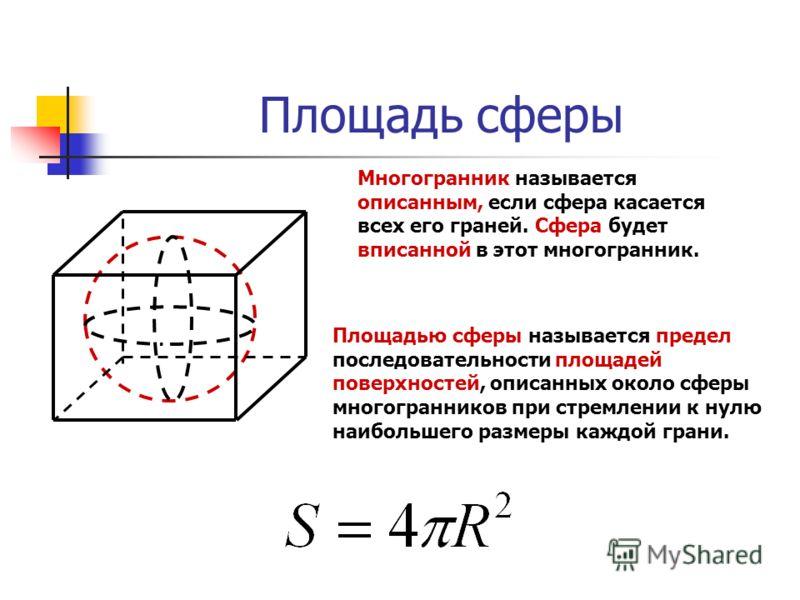 Площадь сферы Многогранник называется описанным, если сфера касается всех его граней. Сфера будет вписанной в этот многогранник. Площадью сферы называется предел последовательности площадей поверхностей, описанных около сферы многогранников при стрем
