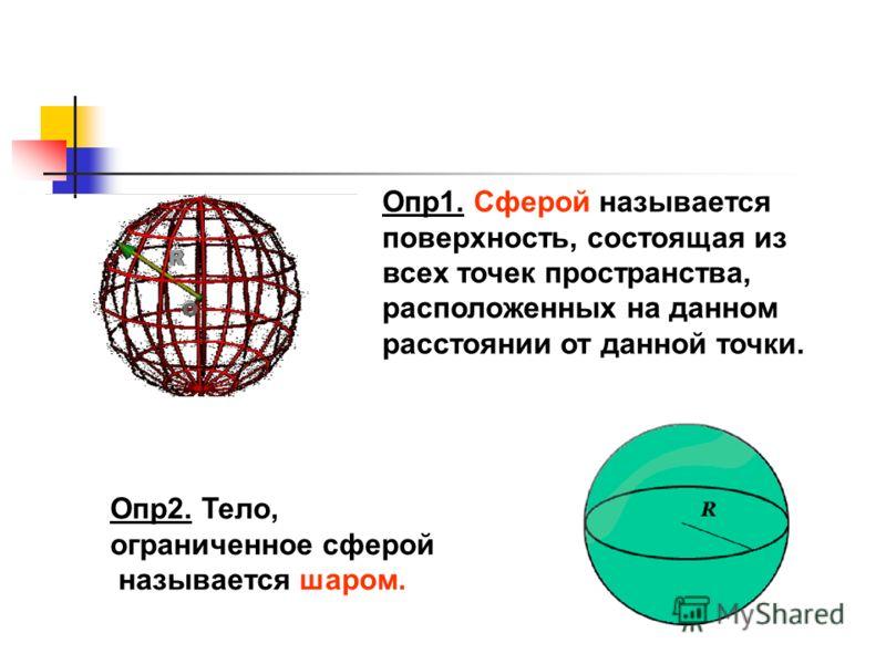 Опр1. Сферой называется поверхность, состоящая из всех точек пространства, расположенных на данном расстоянии от данной точки. Опр2. Тело, ограниченное сферой называется шаром.