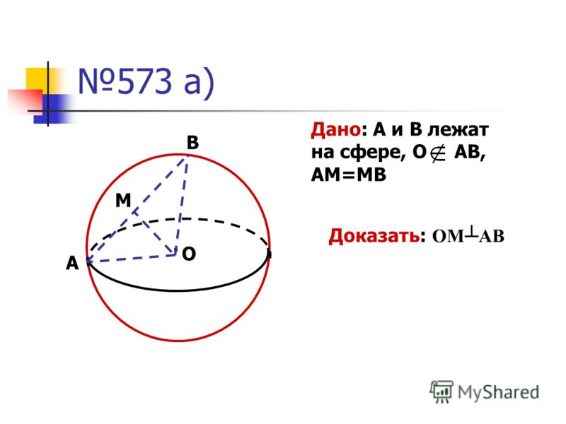 573 а). М А В О Дано: А и В лежат на сфере, О АВ, АМ=МВ Доказать: ОМАВ