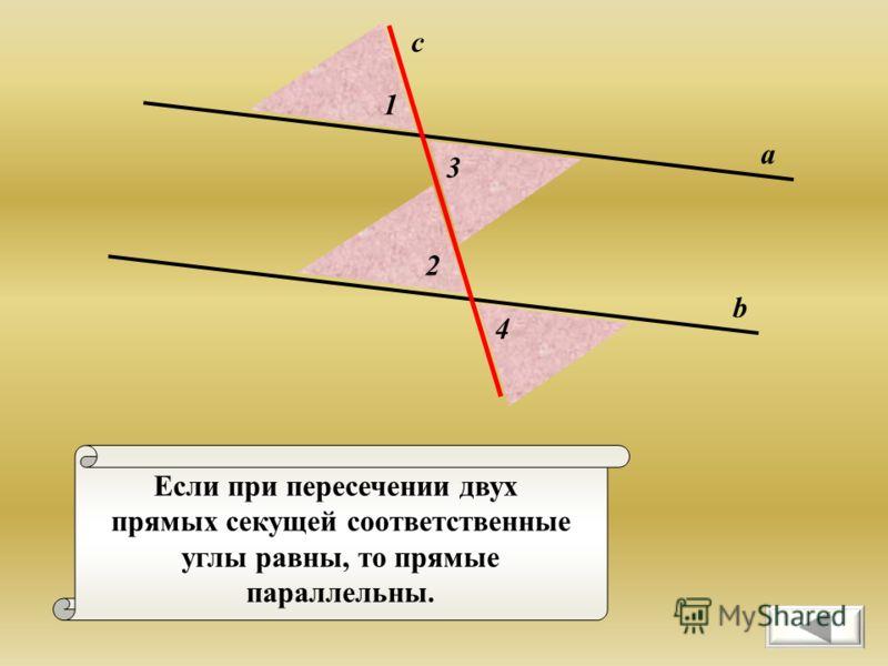 Если при пересечении двух прямых секущей соответственные углы равны, то прямые параллельны. а b c 1 2 3 4
