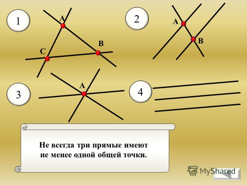 Не всегда три прямые имеют не менее одной общей точки. 1 2 3 А 4 А В С А В
