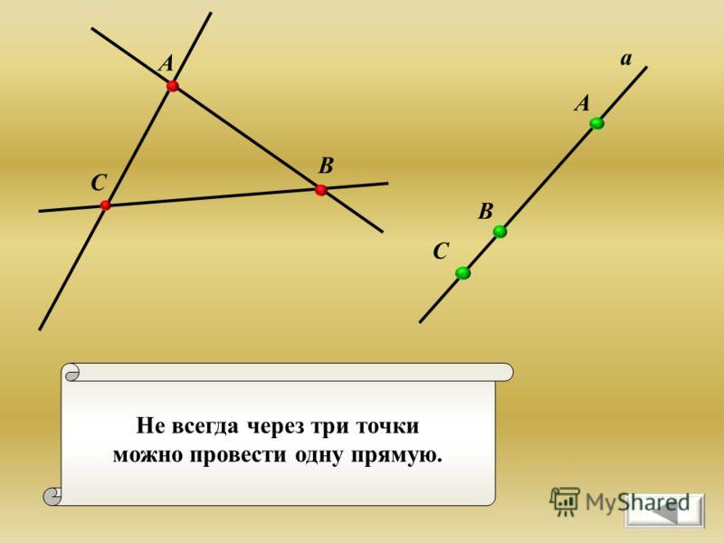 Не всегда через три точки можно провести одну прямую. С А В а А В С