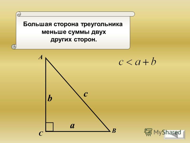 Большая сторона треугольника меньше суммы двух других сторон. А В С a b c