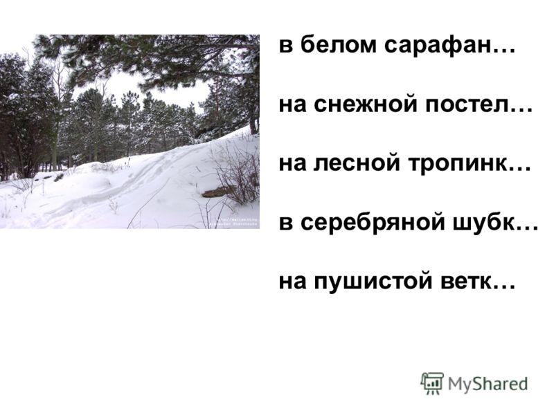 в белом сарафан… на снежной постел… на лесной тропинк… в серебряной шубк… на пушистой ветк…