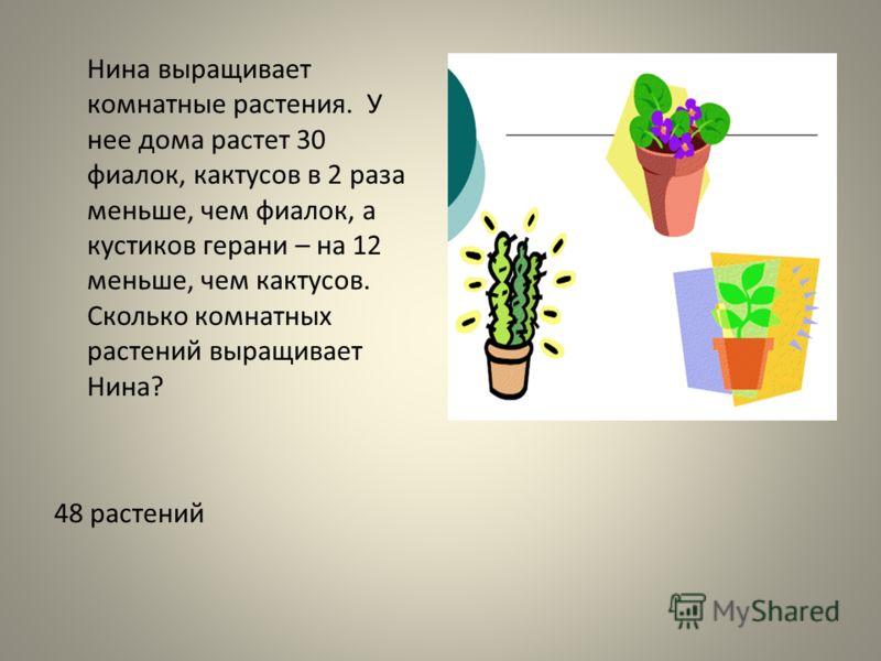 Нина выращивает комнатные растения. У нее дома растет 30 фиалок, кактусов в 2 раза меньше, чем фиалок, а кустиков герани – на 12 меньше, чем кактусов. Сколько комнатных растений выращивает Нина? 48 растений