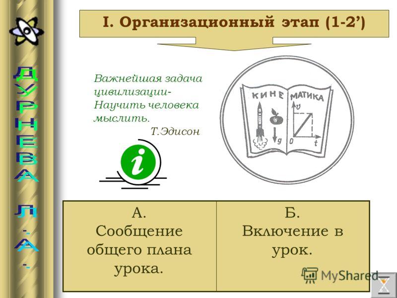 I. Организационный этап (1-2) Б. Включение в урок. А. Сообщение общего плана урока. Важнейшая задача цивилизации- Научить человека мыслить. Т.Эдисон