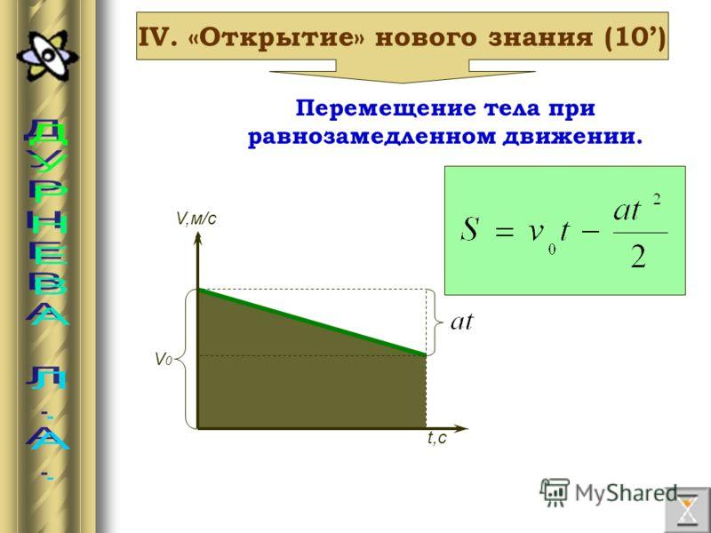 IV. «Открытие» нового знания (10) Перемещение тела при равнозамедленном движении. V,м/с V0V0 t,с