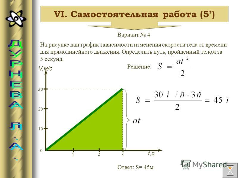 VI. Самостоятельная работа (5) Вариант 4 На рисунке дан график зависимости изменения скорости тела от времени для прямолинейного движения. Определить путь, пройденный телом за 5 секунд. V,м/с t,с 0 10 20 30 312 Решение: Ответ: S= 45м