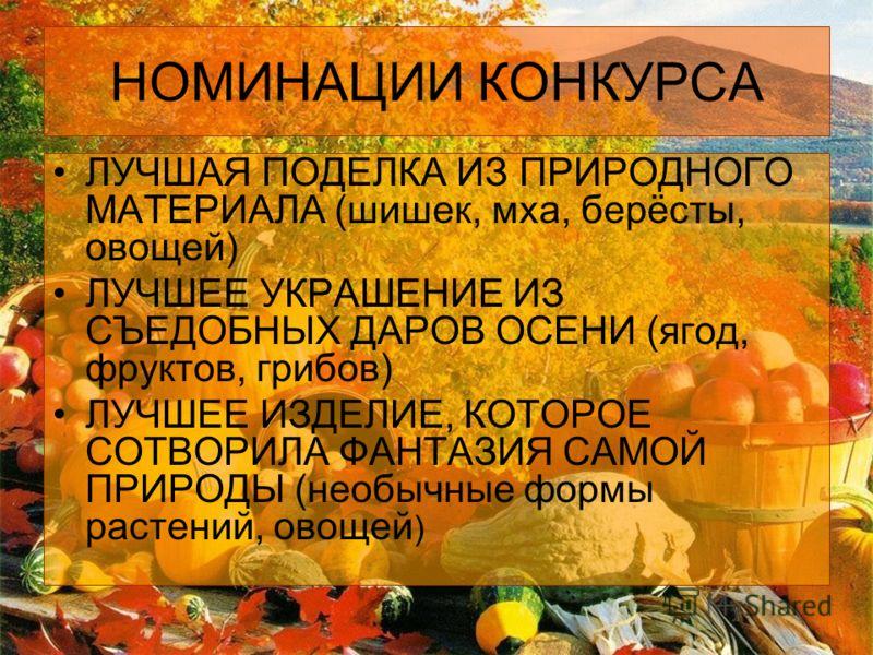 НОМИНАЦИИ КОНКУРСА ЛУЧШАЯ ПОДЕЛКА ИЗ ПРИРОДНОГО МАТЕРИАЛА (шишек, мха, берёсты, овощей) ЛУЧШЕЕ УКРАШЕНИЕ ИЗ СЪЕДОБНЫХ ДАРОВ ОСЕНИ (ягод, фруктов, грибов) ЛУЧШЕЕ ИЗДЕЛИЕ, КОТОРОЕ СОТВОРИЛА ФАНТАЗИЯ САМОЙ ПРИРОДЫ (необычные формы растений, овощей )