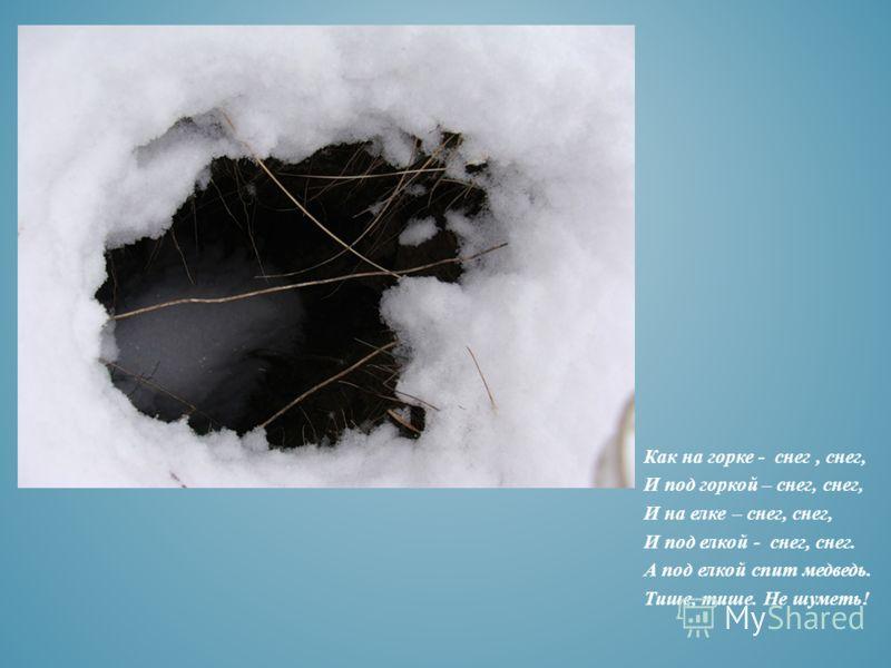 Как на горке - снег, снег, И под горкой – снег, снег, И на елке – снег, снег, И под елкой - снег, снег. А под елкой спит медведь. Тише, тише. Не шуметь!