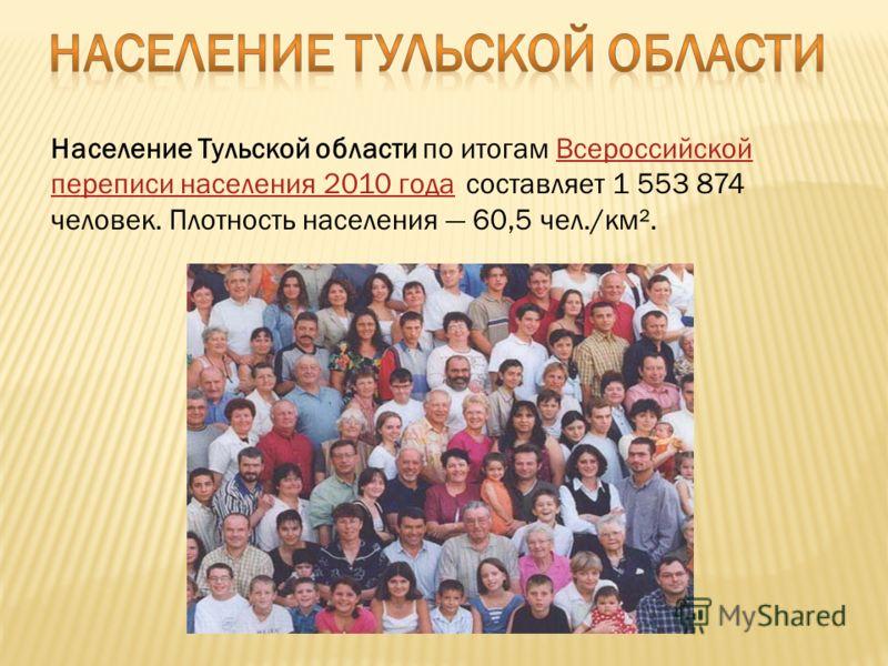Население Тульской области по итогам Всероссийской переписи населения 2010 года составляет 1 553 874 человек. Плотность населения 60,5 чел./км².Всероссийской переписи населения 2010 года