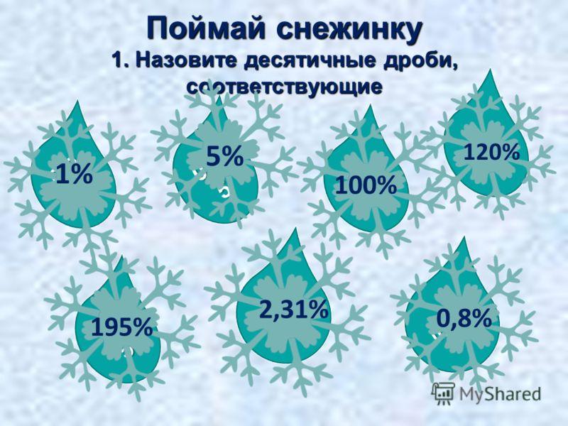 0,008 1,9 5 1 0,0 5 0,0 1 Поймай снежинку 1. Назовите десятичные дроби, соответствующие 1% 5% 100% 1,2 120% 195% 0,023 1 2,31% 0,8%