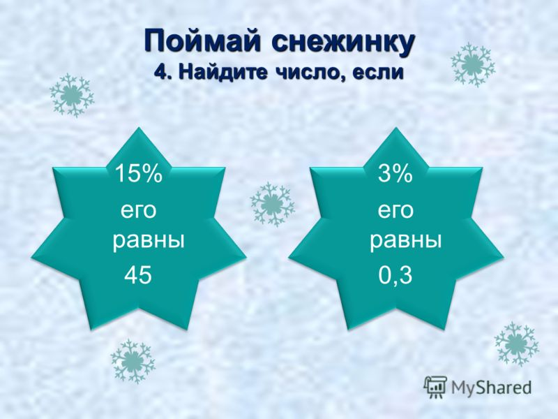 10 300 Поймай снежинку 4. Найдите число, если 15% его равны 45 15% его равны 45 3% его равны 0,3 3% его равны 0,3