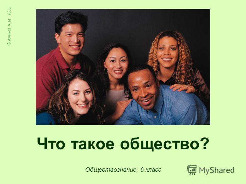 Что такое общество? Обществознание, 6 класс © Аминов А. М., 2008
